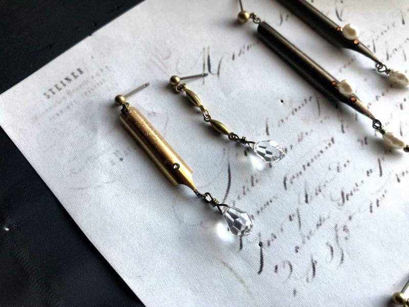 ヨーロッパのヴィンテージんペン先を使った耳飾り(ピアス)
